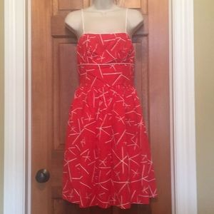 Bright coral and white printed sundress size 8
